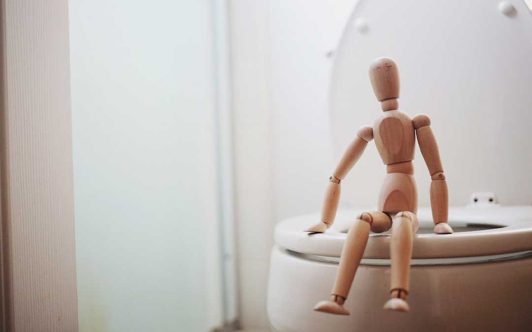 Wood doll sitting on a toilet seat
